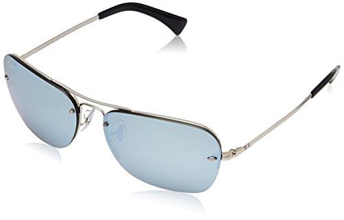 Ray-Ban Metal Man Sunglasses - Silver Frame Mirror Silver Lenses 61mm - Rimless Ray Ban Semi