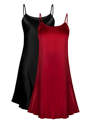 Genuwin 2 Pack Women's Satin Full Slip Dress Chemise Sleepshirt Nightgowns for Women S~2XL (Black+Red Wine, Medium) ()