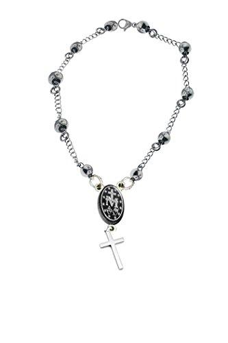 Ben Junot USA - Original Catholic - Rosary Beads Pray Bracelet Steel - Miraculous Medal - Length (7.5 Inches) (19cm) ()