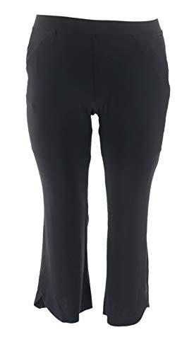 H Halston Petite Jet Set Jersey Tulip Flare Pants Black PL New A306928