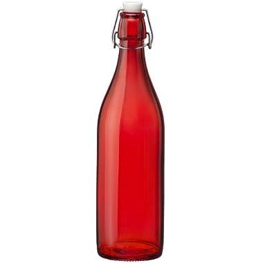 Bormioli Rocco Giara Red Glass Swing Top Bottle