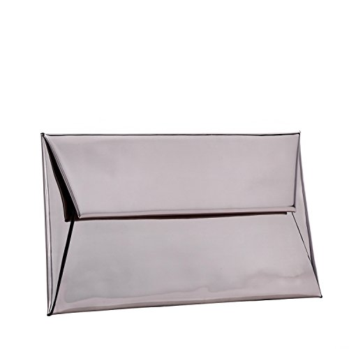BYSUMMER MARKFRAN Metallic Envelope Clutch (Gun Metal)