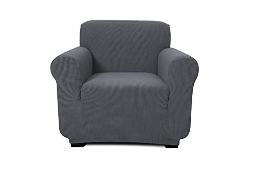 - ONE PIECE - ARM CHAIR/1 SEATER SOFA SLIPCOVER, POLYESTER+SPANDEX JACQUARD FABRIC, STRETCHABLE, HOME, HOTEL/MOTEL, RESORT & COMMERCIAL USE, FITS THE BACK OF FURNITURE FROM 32-47
