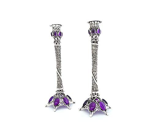 Exclusive 925 Sterling silver Candlesticks with Amethyst stones & Sabbath blessing