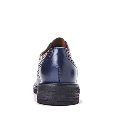 Frau Derby Chaussures En Cuir Bleu Bicolor Tail Bottom Bottom, Nouvelle Collection Automne Hiver 2017/2018