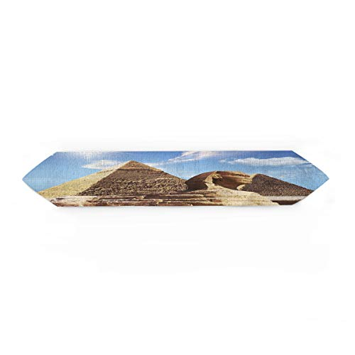 wanxinfu Table Runners for Party/Wedding, Sphinx Pyramid Blue Sky Sun Cotton Linen Desk Flags Coverings for Dining Room/Kitchen, 14 x 72 inches ()