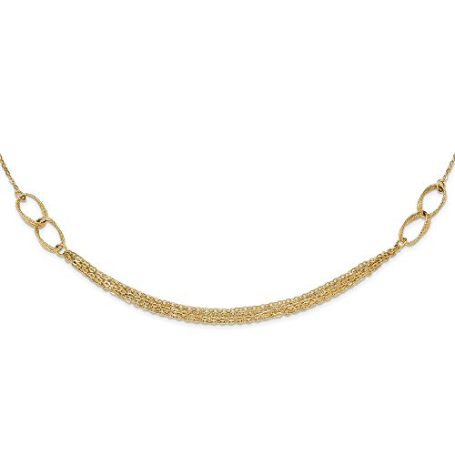 (Jewel Tie 14k Yellow Gold Polished and Textured Fancy Link Necklace)
