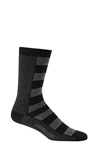 Icebreaker Men's Lifestyle Ultra Light Cushion Crew Socks, Black/Jet Heather/Fossil, Large