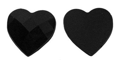 Hearts Gift Tower (About 25 pcs of Acrylic Rhinestone Cabochon, Mother's Day Craft Gift Findings, Faceted, Heart, Black, about 14mm wide, 14mm long, 3.8mm)