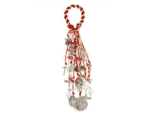 Home Door Blessings and Catholic Decor Gift with Saint Benedict Medal Virgin Mary Archangels Crucifix San Benito Proteccion Spirally Woven Design with 22 Charms. /B100RED