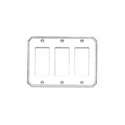 Omnia 8024/T Beveled Edge Triple Rocker Switch Plate from the Classics Collectio, Satin Nickel