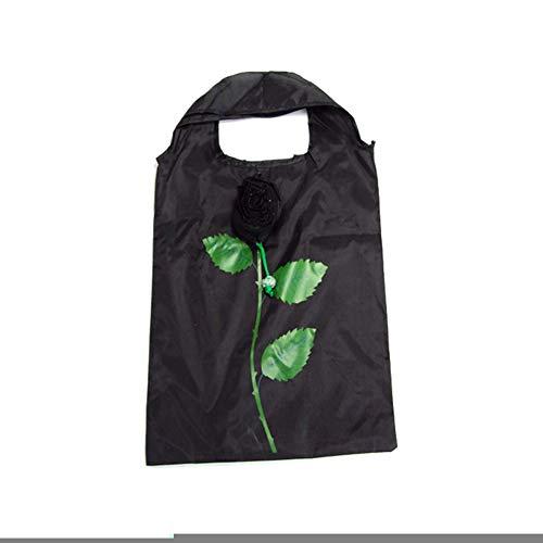 lightclub Rose Design Shopping Bag Foldable Tote Pouch Large Capacity Storage Handbag Random Color