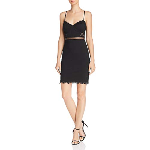 ASTR the label Women's Dream ON Sleeveless Stretch Knit & LACE Short Dress, Black, L