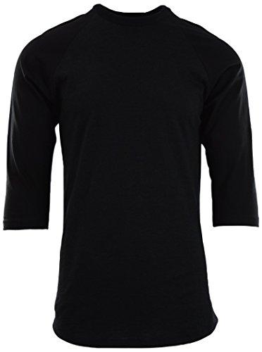 T-shirt Tone Raglan (Mens Raglan 3/4 Sleeve Baseball T Shirts (M, Dark Charcoal/Black))