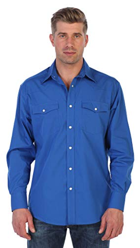 Gioberti Men's Solid Long Sleeve Western Shirt with Pearl Snap-on Buttons, Royal Blue, Large ()