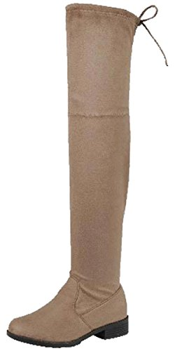 Forever Link Women's Over The Knee Thigh High Flat Boot (8 B(M) US, Taupe) (Boot Style Flat Knee)