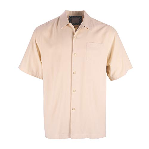 Havana Breeze Men's 100% Silk Relaxed-Fit Camp Shirt Beige