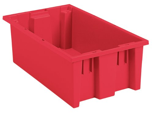 Akro-Mils 35180 Nest and Stack Plastic Storage and Distribution Tote 18-Inch L by 11-Inch W by 6-Inch H Red Case of 6