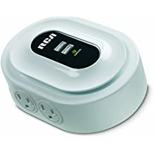 RCA PCHSTA1R Home Charging Station with Device Cradle and USB Plugs for All Electronics