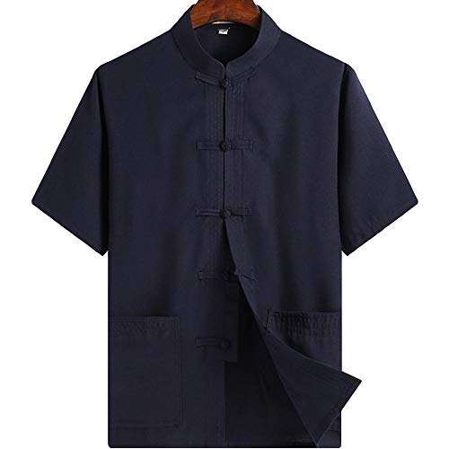 ZooBoo Chinese Clothing Tang Suit - Kung Fu Short Sleeve Shirt for Men (M, Blue)