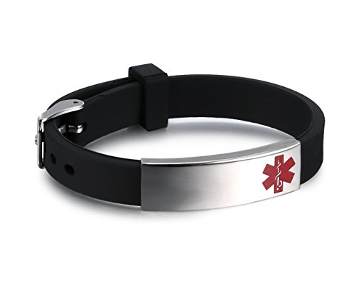 Free Custom Engraving Men's Silicone Rubber Bracelet with Stainless Steel Medical Alert ID Adjustable length ,Black