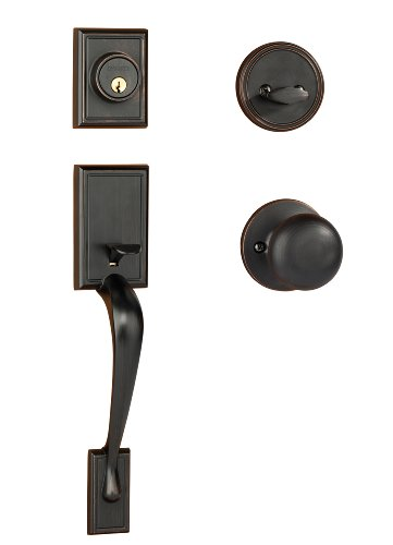 Dynasty Hardware RID-TAH-100-12P Ridgecrest Front Door Handleset, Aged Oil Rubbed Bronze with Tahoe Knob ()
