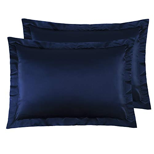 NTBAY Standard Shams Set of 2, Pillowcases, Silky Satin, for Hair, Super Soft and Luxury, Navy Blue