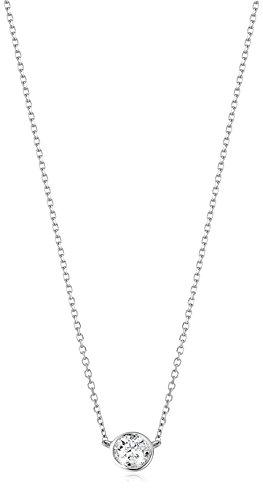 1/3 Carat Certified Diamond Bezel Necklace with Adjustable Length, 14k White Gold (K-L Color, I2-I3 Clarity)