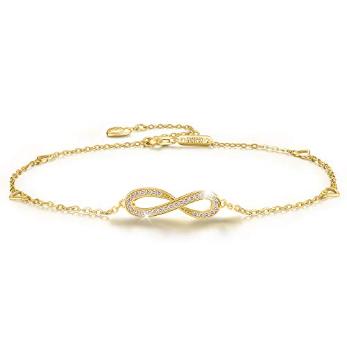 Esberry 18K Gold Plated 925 Sterling Silver 5A Cubic Zirconia CZ Infinity Ankle Bracelets Endless Love Symbol Charm Adjustable Foot Jewelry for Women and and Teen Girls,Gift for Valentine's ()