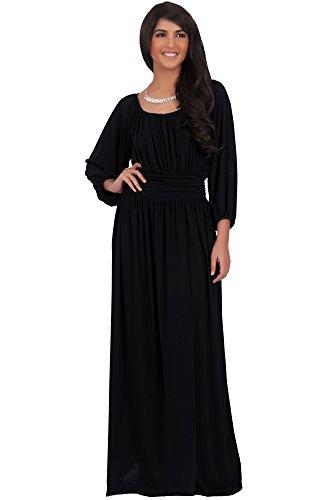 Renaissance Fancy Dress (KOH KOH Plus Size Women Long Sleeve Sleeves Vintage Peasant Empire Waist Fall Loose Flowy Fall Winter Casual Maternity Abaya Gown Gowns Maxi Dress Dresses, Black 2X 18-20 (2))