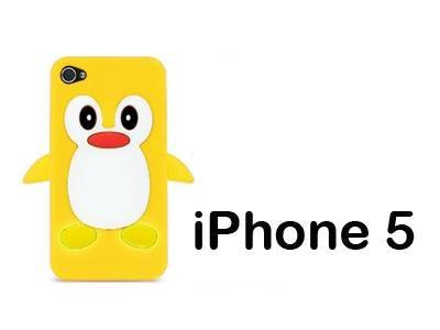 iXium Jaune 3D mignon pingouin avec jouet animal Skin Coque de protection en gel silicone souple pour Apple iPhone 5