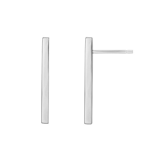 (PAVOI 14K White Gold Plated Sterling Silver Post Dainty Mini Bar Stud Earrings | Gold Earrings for Women |)