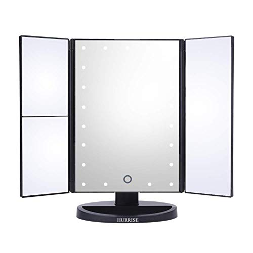 HURRISE Tri-Folded Vanity Makeup Mirror with 22 Touch Adjustment LED Lights 1x/2x/3x -