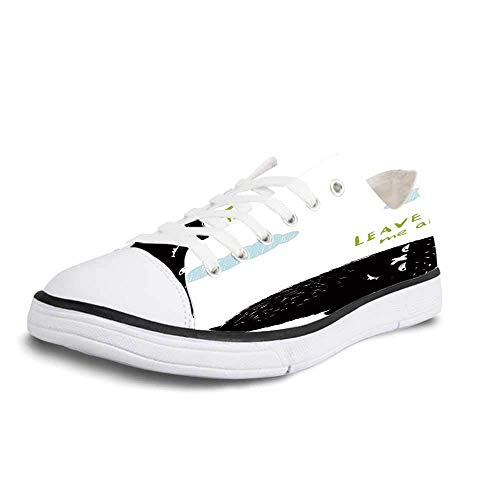 Canvas Sneaker Low Top Shoes,Quirky Decor Depressed Melancholic Hairy Monster Saying Leave Me Alone Lying Back Solitude Women 10/Man 7