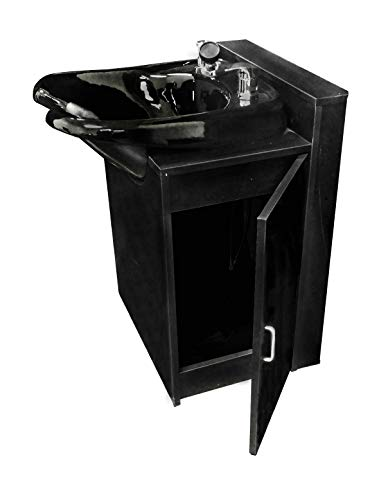 Black Streamline Ceramic Beauty Salon Shampoo Bowl w/Floor Cabinet TLC-B33FC