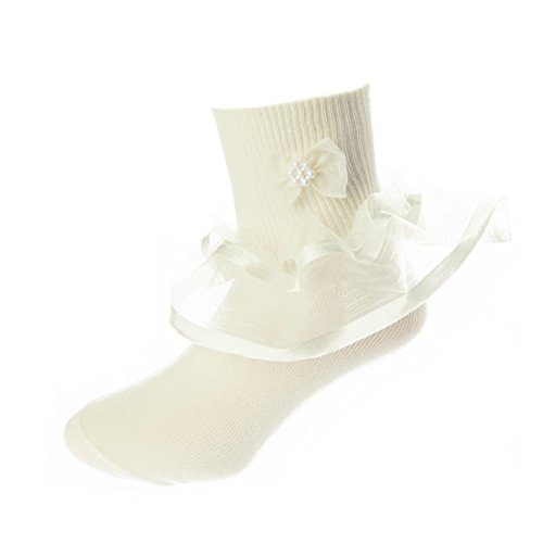 DressForLess Multi Color Girls Socks with Color Ruffled Organza Lace and Ribbon, Ivory, 9-11