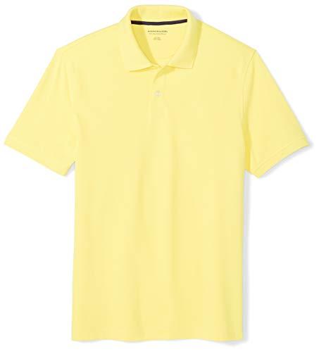 Amazon Essentials Men's Slim-Fit Cotton Pique Polo Shirt, Yellow, Medium