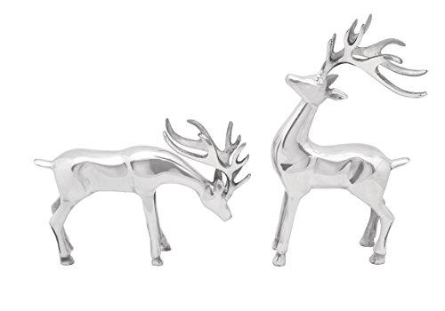 Deco 79 Aluminium Deer, 14 by 8-Inch, Set of 2 (14