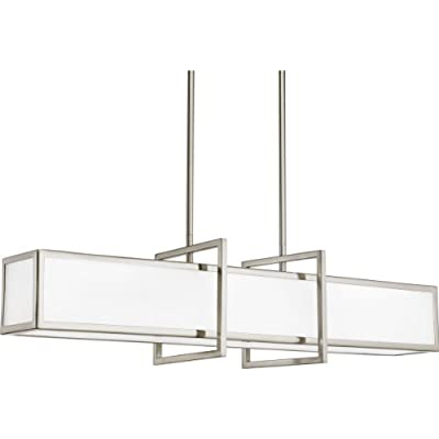 Progress Lighting P3898-09 4-Light Linear Pendant with Etched Glass Panels