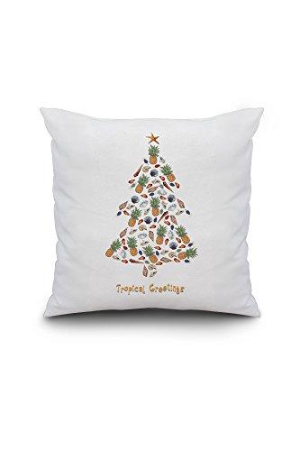 Tropical Greetings - Tropical Christmas Tree - Holiday (18x18 Spun Polyester Pillow, Custom - Christmas Barn Pillow Pottery Tree