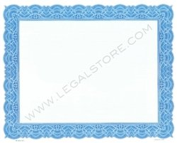 Goes Blank Stock Certificates, Large Border, 10'' x 8'', Blue, 500 per package