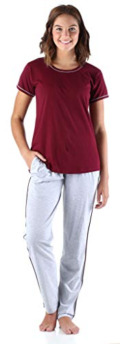 Price comparison product image Frankie & Johnny Women's Sleepwear Cotton Short Sleeve Tee Shirt and Sweat Pant Pajama Set,  Maroon with Grey (FJW1960-2070-MED)