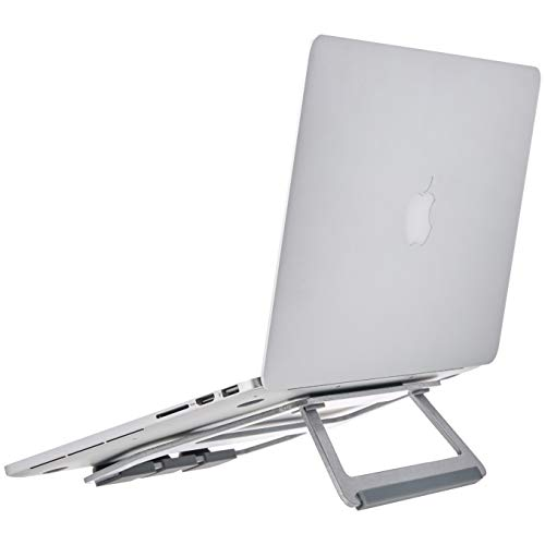 AmazonBasics Aluminum Portable Foldable Laptop Support Stand for Laptops up to 15 Inches, Silver