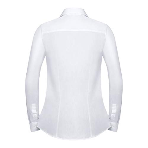 Russell Collection Womens/Ladies Long Sleeve Tailored Coolmax Shirt (L) (White)