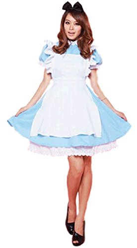 Sagittarius.kyt Alice Wonderland Blue French Apron Maid Fancy Dress with Black hairband Halloween costume (onesize)