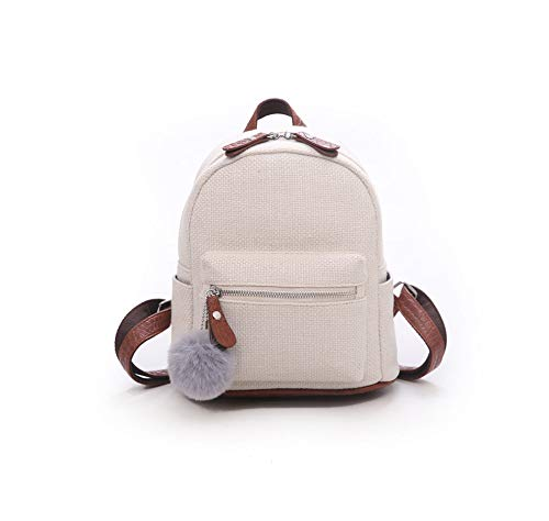 (Mini Backpack Women Fashion Small Backpacks Hairball Purse Mobile Phone School Bag for Girls Rucksack,White,22cm 10cm 25cm)
