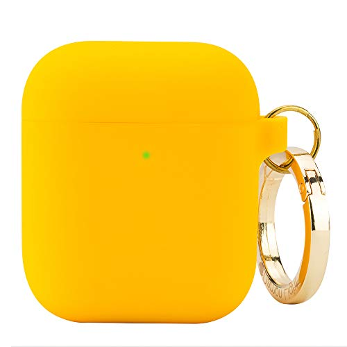 (DamonLight Premium Silicone Airpods Case with Carabiner [Extra Thin][Front LED Visible][with no Hinge] Full Protective Cover Skin Compatible with Apple Airpods 1&2(Yellow))