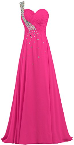 Cristal De Fourmis Femmes En Mousseline De Soie Une Robe De Bal Épaule Longue Robe De Soirée Rose Chaud