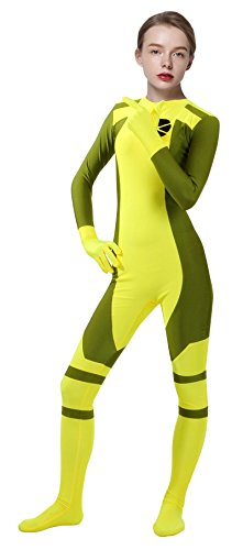 Sheface Lycra Spandex Ms Rogue Zentai Bodysuit Costume (XXX-Large, Yellow) -