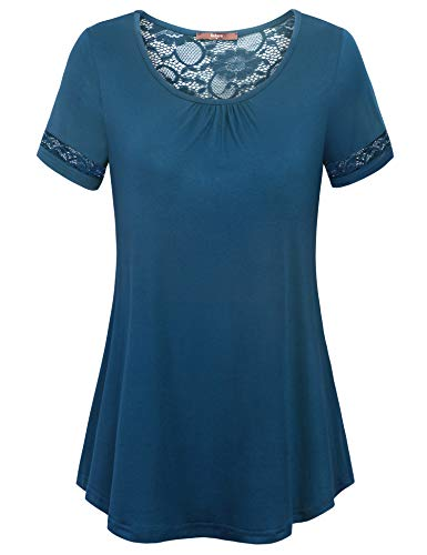(Gaharu Knit Tops for Women Simple Scoop Neck T-Shirt Short Sleeve Lace Splicing Back Lightweight Tunics Stretchy Comfy Cool Elegant Blouses Dark Cyan,M)